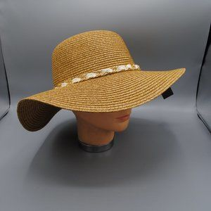 NWT Sun Hat Floppy Hat Banded Dark TAN -GOLD CHAIN